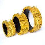 Świeczniki z egzotycznego drewna komplet 3 sztuki CND180A żółte