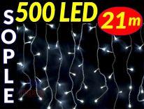 SOPLE CHOINKOWE 500 LED LAMPKI BIAŁE ZIMNE 21m #9