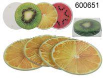 Szklane owocowe podstawki komplet 4 szt