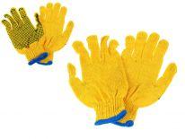 Rękawice ogrodowe materiałowe żółte z kropkami - 1 para