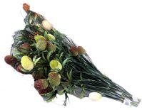 Kwiaty dekoracja do wazonu 03szt pisanki 4cm na gałązce 80cm białe / pomarańcz / zielone KW-065TX