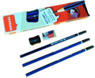 Ołówek techniczny 12szt HB Lapiz heksagonalny niezatemperowany + temperówka + gumka niebiesko-czarny w pud. z zaw. Super Jakość!!! OL-217TS