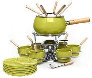 Fondue karuzela emaliowane 28 elementów ceramika stal nierdzewna - zielone