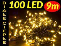 LAMPKI CHOINKOWE 100 LED ŁĄCZENIE BIAŁE CIEPŁE #2