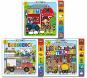 Playtown Lift The Flap 3 Books Collection Set With Flaps And Giant Fold Out Farm Construction Emergency