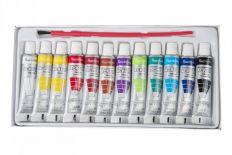 Farba akrylowa 12 tubek + pędzelek [ZESTAW 12 KOMPLETÓW]