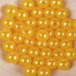 Koraliki Perełki 8mm 10g Kolor Ciepło Żółty [ Zestaw - 50 Kompletów]