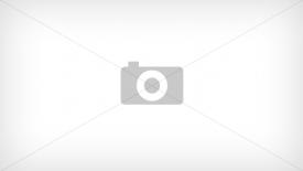 125-15 Sukienka KOŁO - dekolt łódka - KWIATY BRZOSKWINIOWE NA NIEBIESKIM TLE