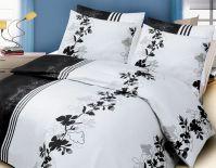 pościel satynowa Valentini Bianco Ivy Black & White (160 x 200 cm i 220 x 200 cm)