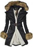 Płaszcz zimowy damski eko skórzany na futerku